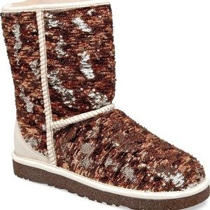 NEW UGG Classic Short Sequin Champagne Boot